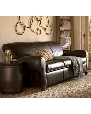 Manhattan Leather Sleeper Sofa, Polyester Wrapped Cushions, Signature Whiskey
