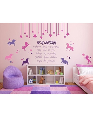 2d0cf7f380 Be a Unicorn Quote, Full Wall Mural Vinyl Decal for Girl's Bedroom or Baby  Nursery