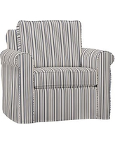 Cameron Roll Arm Slipcovered Armchair, Polyester Wrapped Cushions, Antique Stripe Blue