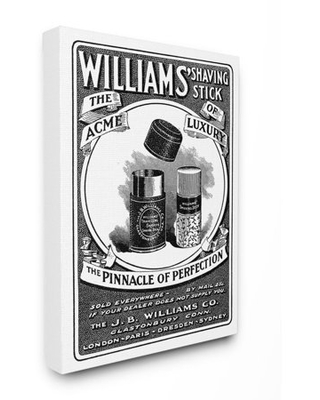 Stupell Industries Shaving Advertisement Vintage Black And White Design Canvas Wall Art by The Saturday Evening Post