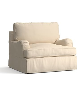 """PB English Arm Slipcovered Grand Armchair 42"""", Box Edge Polyester Wrapped Cushions, Twill Parchment"""