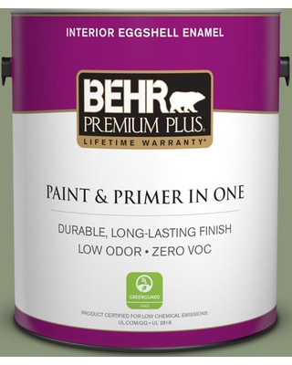 BEHR Premium Plus 1 gal. #420F-5 Olivine Eggshell Enamel Low Odor Interior Paint and Primer in One