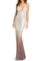 Mac Duggal Ombre Sequin Mermaid Gown, Size 14 in Mocha at Nordstrom