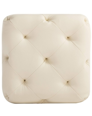 """19"""" Square Pintucked Ottoman Cream Faux Leather - WOVENBYRD"""