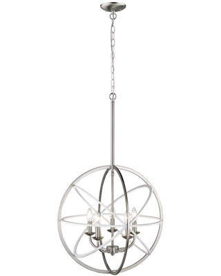 Millennium Lighting 20 in. 5-Light White/Burnished Nickel Pendant