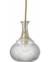 "Oliva 6 1/2"" Wide Clear Glass with Brass Mini Pendant"