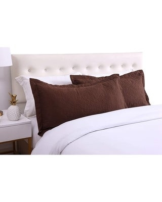Porch & Den Manor Embroidered Pillow Sham (Set of 2) (Brown - King)
