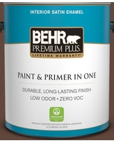Find Deals On Behr Premium Plus 1 Gal S G 750 Chocolate Sprinkle Satin Enamel Low Odor Interior Paint And Primer In One