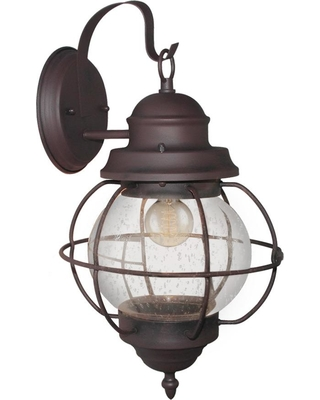 LNC Globe 1-Light Bronze Outdoor Wall Mount Lantern with Seeded Glass