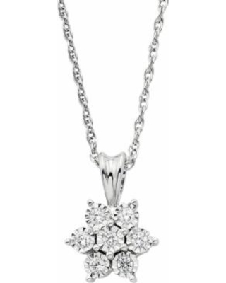 """Sterling Silver 1/10 T.W. Diamond Cluster Flower Pendant Necklace, Women's, Size: 18"", White"""