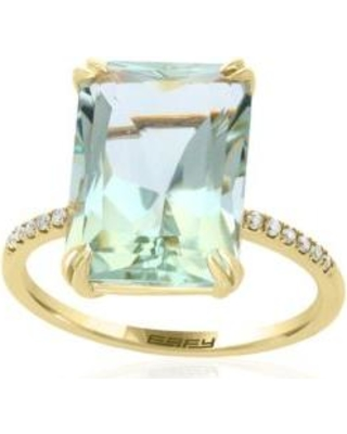 Effy Green Amethyst Green Amethyst with Diamond Shank Ring in 14k Yellow Gold