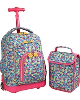 J World 16 Lollipop Rolling Backpack with Lunch Kit - Multi-Colored, Pink/Blue