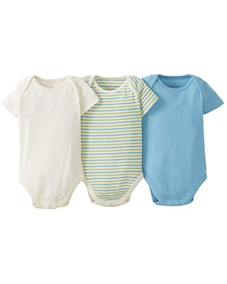 Moon and Back by Hanna Andersson Baby 3 Pk Short Sleeve Bodysuit, Medium Turquoise, Newborn