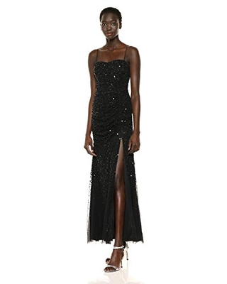 Adrianna Papell Women's Beaded Tank Shirred Gown, Black, 6