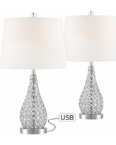 Sergio Chrome Accent Table Lamp with USB Port Set of 2