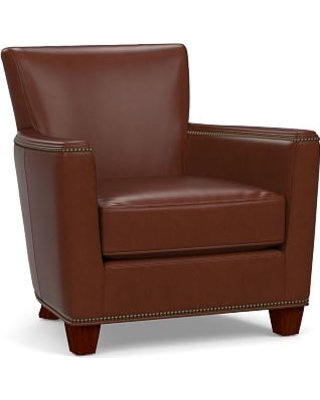 Irving Square Arm Leather Armchair With Bronze Nailheads, Polyester Wrapped  Cushions, Signature Whiskey