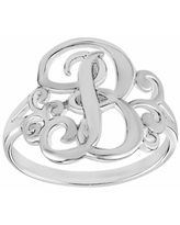 PRIMROSE Sterling Silver Initial Ring, Women's, Size: 7, Grey