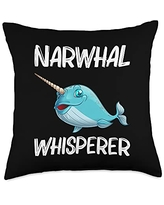 Best Narwhale & Canine Mammal Zoo Species Designs Funny Narwhal Gift For Men Women Sea Whale Fish Ocean Animal Throw Pillow, 18x18, Multicolor