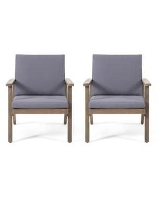 Great Sales On Temecula Outdoor Acacia Wood Club Chairs With Cushions Set Of 2 By Christopher Knight Home Gray Finish Dark Gray Cushion