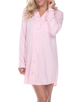 White Mark Women's and Women's Plus Long Sleeve Nightgown