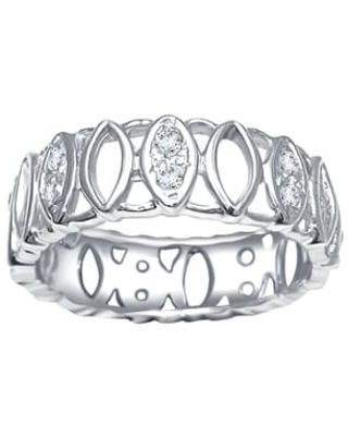 Natural 0.25 Carat White Diamond 925 Sterling Silver Band Ring (7)