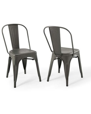 Promenade Collection EEI-3859-GME Bistro Dining Side Chair Set of 2 in Gunmetal