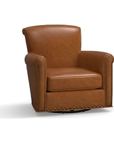 Irving Leather Swivel Glider, Bronze Nailheads, Polyester Wrapped Cushions, Leather Vintage Caramel