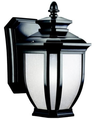 """Salisbury 10.25"""" 1 Light Outdoor Wall Light with White Linen Glass in Black"""