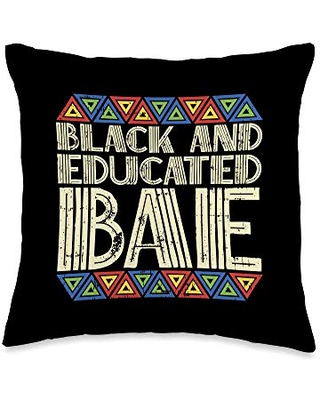 BoredKoalas Pillows Bae Black And Educated History Month Pride Protest Throw Pillow, 16x16, Multicolor
