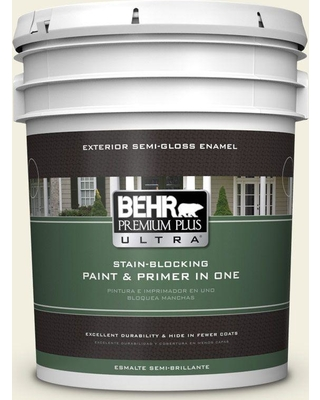 BEHR Premium Plus Ultra 5 gal. #GR-W01 White Wool Semi-Gloss Enamel Exterior Paint and Primer in One