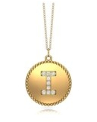 """Noray Designs 14K Gold Diamond (0.07Ct, G-H Color, SI2-I1 Clarity) A-Z Alphabet Initial Pendant, 18"""" Gold Chain (I - Yellow)"""