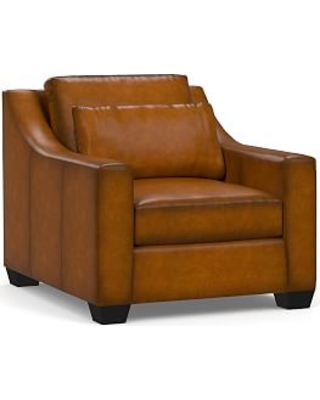 York Deep Seat Slope Arm Leather Armchair, Polyester Wrapped Cushions, Burnished Bourbon