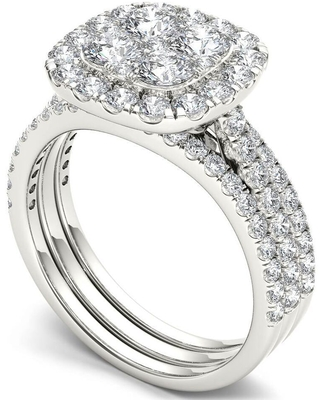 De Couer IGI Certified 14k Gold 2ct TDW Diamond Halo Engagement Ring Set with Two Bands (9 - White)