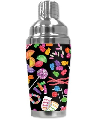 """Mugzie """"Vintage Candy"""" Cocktail Shaker with Insulated Wetsuit Cover , 16 oz, Black"""