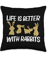 Cute Rabbit Easter Animal Zookeeper Farm Clothing Funny Gift for Men Women Bunny Rabbit Mammal Lovers Throw Pillow, 16x16, Multicolor