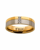 Men's Steel Gold-Tone Plated 3 Piece Clear Diamond Ring - Gold-tone