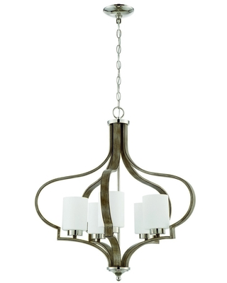 Craftmade Jasmine 5-Light Traditional Chandelier in Polished Nickel with Weathered Fir