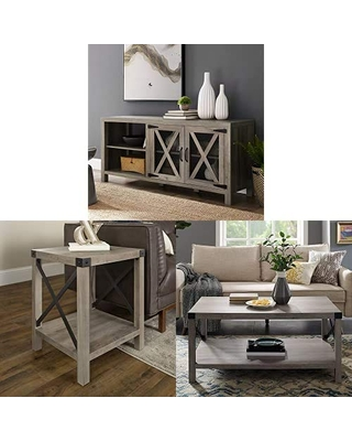 Walker Edison Furniture Company Farmhouse X Wood Universal Stand for TV's with Side Accent Living Room Small End Table and Coffee Table Living Room Ottoman Storage Shelf
