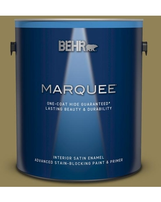 BEHR MARQUEE 1 gal. #S330-6 Dash of Oregano Satin Enamel Interior Paint and Primer in One