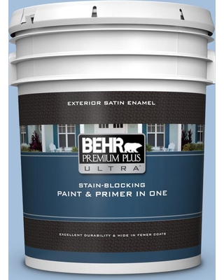 BEHR Premium Plus Ultra 5 gal. #580D-4 Skysail Blue Satin Enamel Exterior Paint and Primer in One