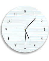 Kid'O Design Studio Hand drawn line Pattern Wall clock Decorative Kids room clock,Battery Operated Wall Clocks, White and Light Blue 10.62 inches
