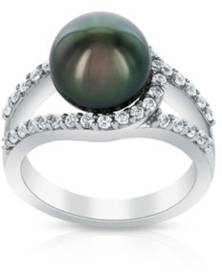 Radiance Pearl Sterling Silver Tahitian South Sea Pearl and Crystal Ring (9-10mm) (6.5)