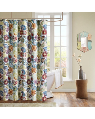 The Curated Nomad Lyon Microfiber Floral Paisley Shower Curtain (Multi)