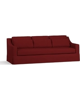 """York Slope Arm Slipcovered Deep Seat Grand Sofa 95"""" with Bench Cushion, Down Blend Wrapped Cushions, Twill Sierra Red"""