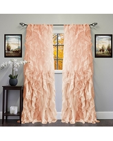 """Sweet Home Collection Sheer Voile Vertical Ruffled Window Curtain Panel 50"""" x 84"""", 84"""" x 50"""", Spice, 2 Piece"""