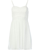 A. Byer Women's Fit and Flare Dress with Illusion Waist, Off White, 9