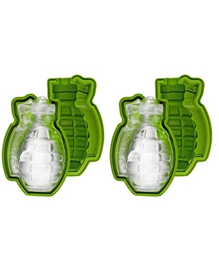 Fairly Odd Novelties Grenade Shaped 3D Mold, 2 Pack Fun Bomb Military Ice Maker Gift, One Size, Green