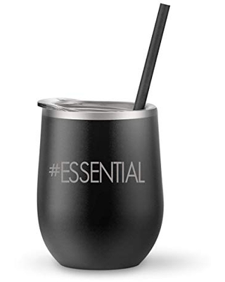 Essential Stainless Steel Stemless Wine Tumbler With Lid and Reusable Straw (12 oz)