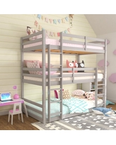 Campbell Wood Triple Twin Bunk Bed, Gray, by Hillsdale Living Essentials