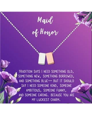 Anavia Maid of Honor Necklace Gift, Maid of Honor Sister Gift, Maid Of Honor Card for Girls, Wedding Gifts Jewelry Necklace-[Silver and Rose Gold Double Cube, Royal Purple Gift Card]